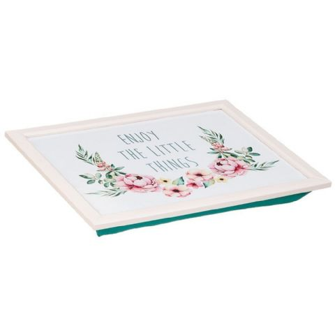 Cushioned Lap Tray Turquoise & Pink - Enjoy The Little Things